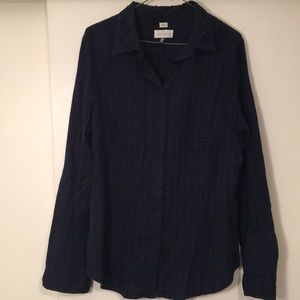 Loft navy button up with embellished collar